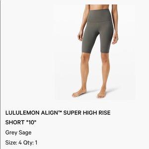 "Lululemon align super high rise 10""shorts grey"